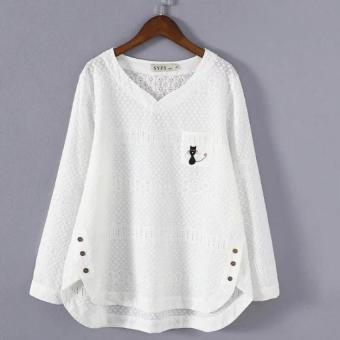 Plus Large Size Autumn Casual Tops Long Sleeve printed CottonShirts for women and girls - intl