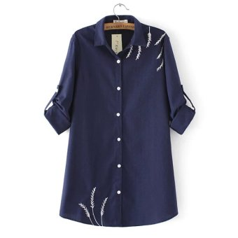 Plus Size Autumn long sleeve Creative Printed Pure Cotton Shirts -intl