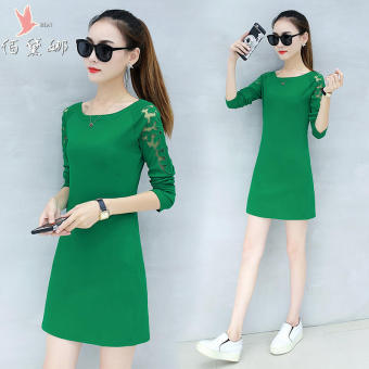 Qiudong Korean-style Plus velvet female New style base skirt dress (Green)