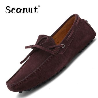 Seanut Fashion Leather Slip On Men Loafers Casual Shoes (Coffee) -intl