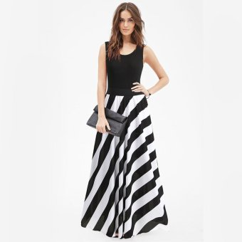 Sexy Women Boho Long Maxi Evening Cocktail Party Beach Black White Stripes Dress