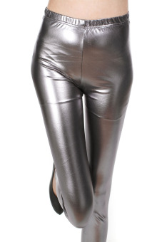 Shiny Shishang metal black spring and autumn leggings (Gray)