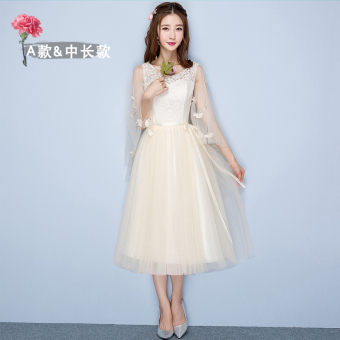 Sisters winter New style bridesmaid dress (Champagne color medium-length a section 968)