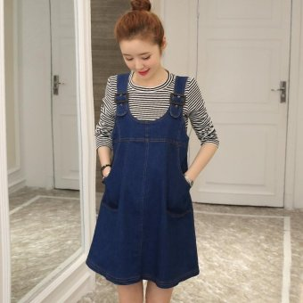 Small Wow Maternity Fashion Round Solid Color Cotton Above Knee two-piece Dress Blue - intl