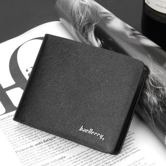 Stylish guy's Shishang youth thin cross leather wallet men's short wallet (Black Cross)