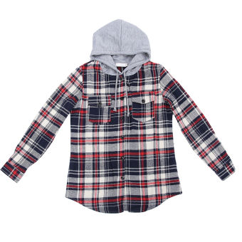 Women blouse Hooded Long Sleeve Blouse Checkered Plaid Women's Tops