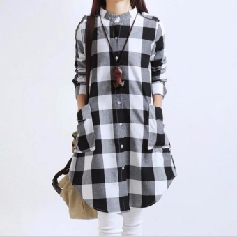 Women Casual Style Dress Cotton Linen Loose Black White ChequeredLong Sleeve Shirt Tops Blouse - intl