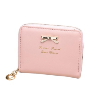 Women's Purse 2017 Coin Purse Clutch Women Pouches Wallets ShortSmall Bag PU Leather Female Purses For Coins Pink - intl