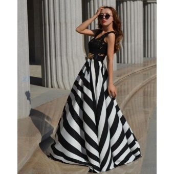 ZANZEA Women Boho Lace Long Maxi Party Dress Beach Chiffon Stripe Dresses Black and White-Intl
