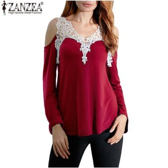 ZANZEA Women Casual Long Sleeve Plus Size Tee Tops Off ShoulderV-Neck Shirts Blusas Femininas Lace Patchwork Blouse (Wine Red) -intl