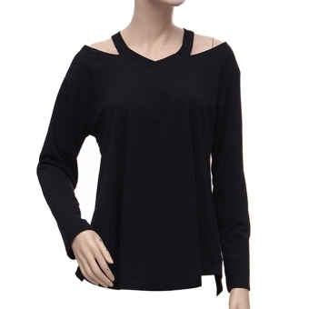 Zanzea Womens Fashion Off Shoulder Long Sleeve V-Neck Loose Tops T-Shirt Blouse Black - Intl - intl