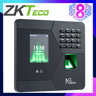 ZKTeco/NGTeco 2.8 inch TFT USB Multi-verifcation Biometric Fingerprint Time Attendance Machine Time Clock Recorder Employee Checking-in/out Reader AFace10 (Black)