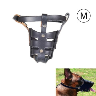 Adjustable Genuine Leather Basket Cage Muzzle For Pet Dog FashionMuzzle, Size: M, Random Color Delivery - intl