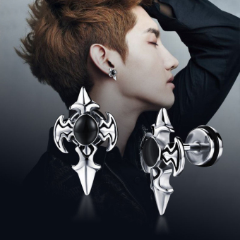 Fashion Earring Punk Titanium Steel Cross Sword Ear Stud Earring Jewelry For Men