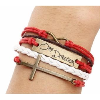 One Direction Infinity Red White Handmade Bracelet Multilayer CrossUnisex Charm Bracelet