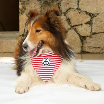 Pet Collar Scarf Anchor Stripe Cotton Dog Cat Bandana (Red -Medium)