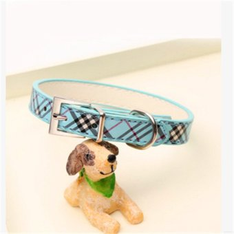 Pet dog collar Plaid lines look gorgeous collar pet collar - Blue -intl