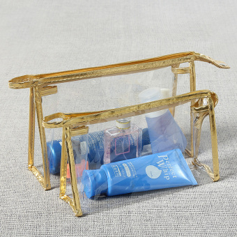Simple small portable large capacity storgage bag transparent cosmetic bag