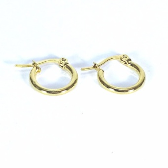 Stainless Gold Loop Earrings (Small) With Free Stainless Steel Mini Cross Stud Earring