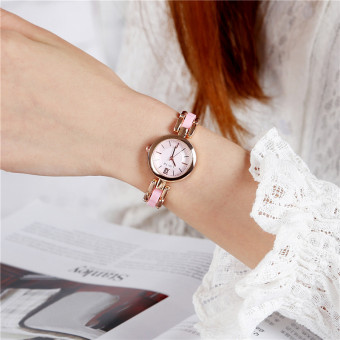 Stylish white imitation ceramic waterproof women's watch