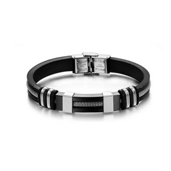 Wawawei New Fashionable Men's three-color titanium steel siliconeUnisex bracelet