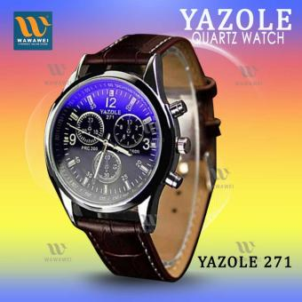 YAZOLE 271 Fashion Business Men PU Leather Band Wristwatch(Black/Brown)