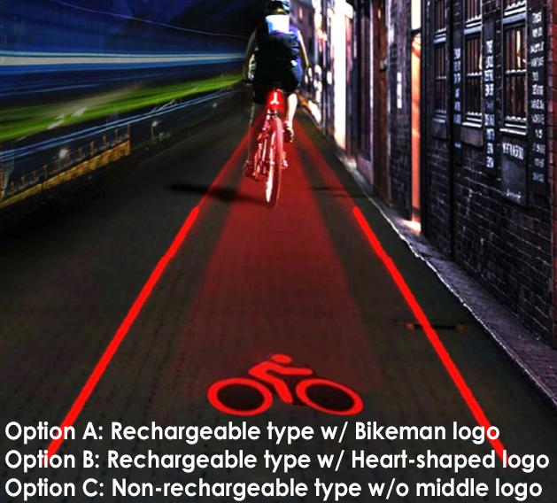 Bike Laser Tail Light with Straight Laser