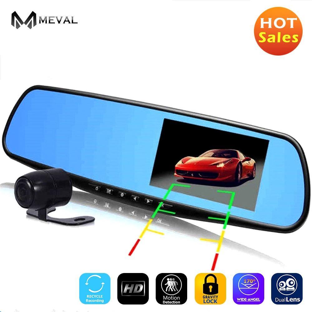 Meval VS4 Penuh HD 1080 P Mobil DVR Kamera Otomatis 4.3 Inch Rearview Cermin Digital Video Perekam Ganda Lensa Registratory kamera Perekam-Internasional