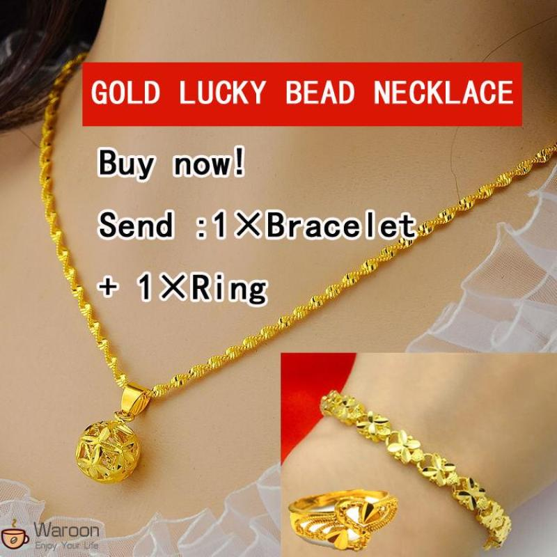 24k Gold Plated clavicle ripple necklace Lady's luck bead necklace Send Bracelet & Ring ...