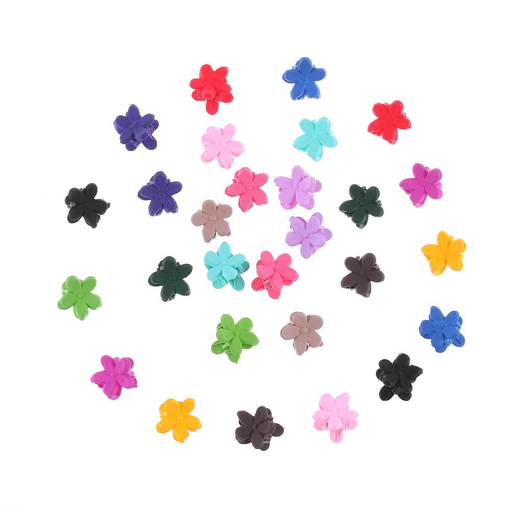 10PC Random Color!!Cute Children Girls Hairpins Small Flowers Gripper 4 Claws Plastic Hair Clip Clamp Barrettes Hair Accessories - intl