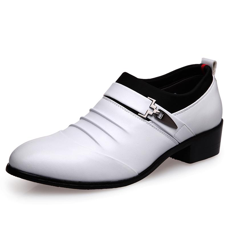 The groom Korean-style leather white man trendy shoes elevator men's casual leather shoes 288 white pumps