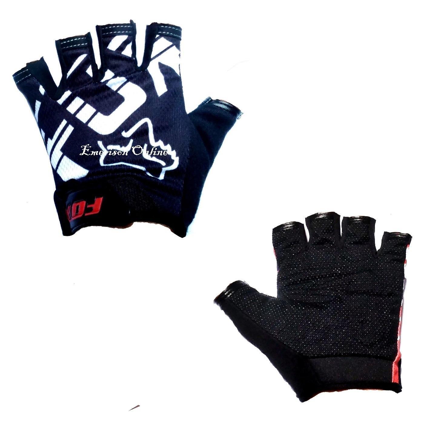 BT0959 Bicycle FDX Bike Half Finger Safety Gloves (Black-White)