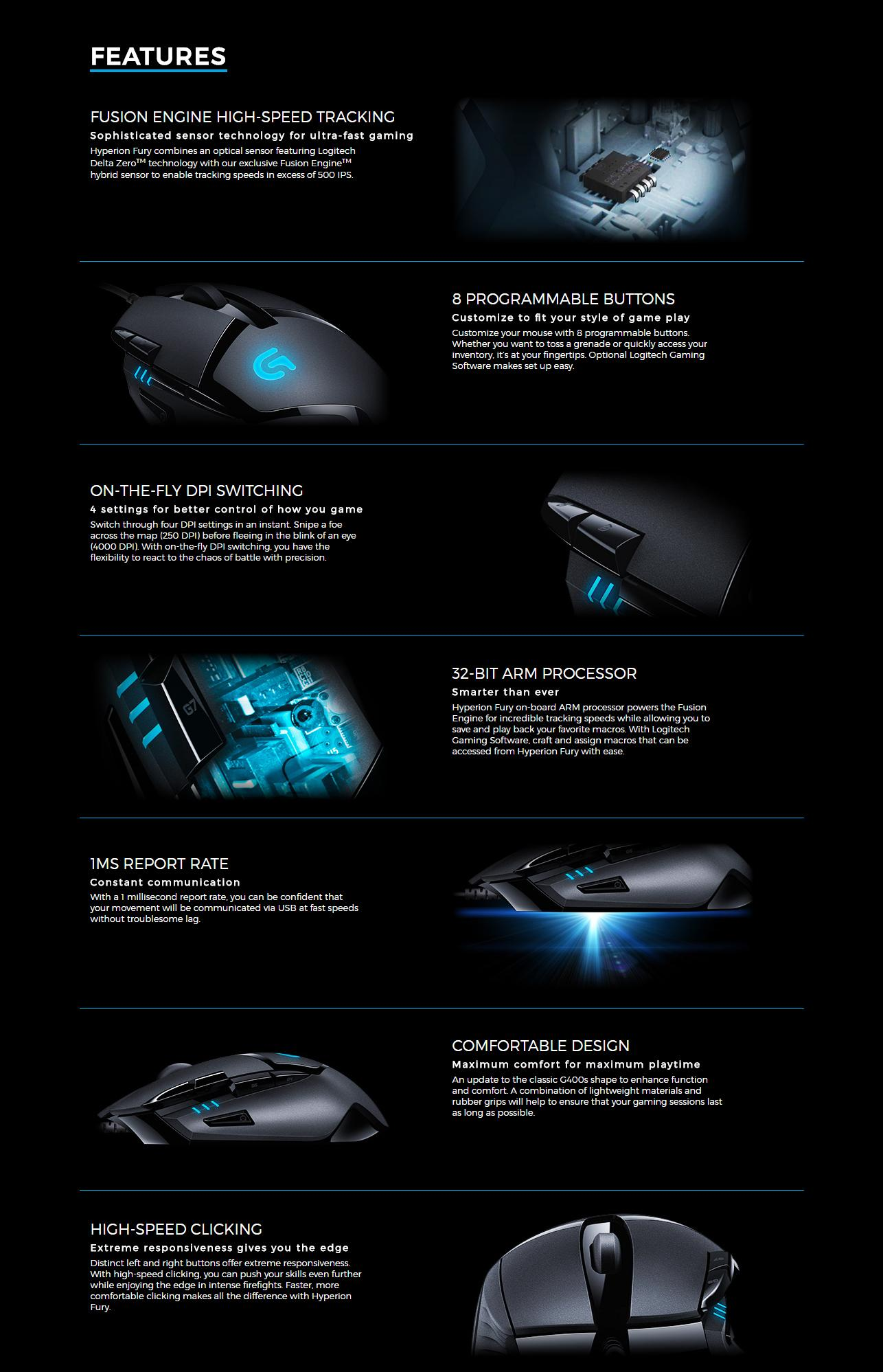 9a83efe7853 Specifications of Logitech G402 Hyperion Fury Ultra-Fast FPS Gaming Mouse