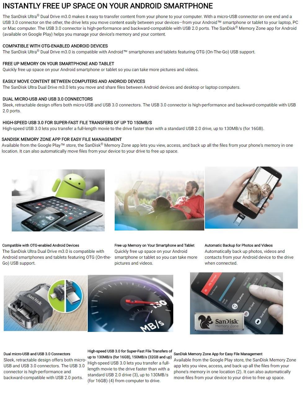 Sandisk Ultra Sddd3 016g 16gb Otg Dual Usb Drive M30 Translucent 16 Gb Specifications Of Black