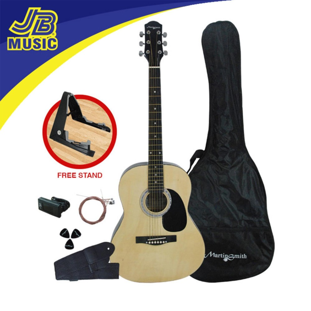 Martin Smith Acoustic Guitar Package W 101 N PK Natural