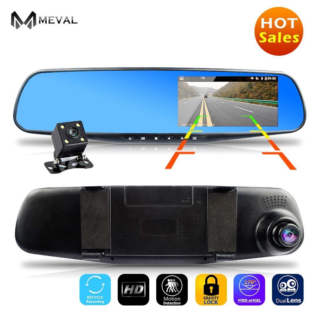 Meval VS4 Mobil DVR Kamera Rearview Cermin Otomatis DVR Ganda Lensa Dash Kamera Perekam Video Registrator Kamera Perekam Penuh HD 1080 P G Sensor DVR-Internasional