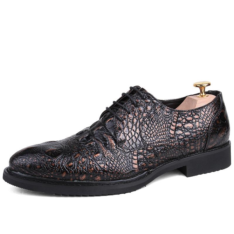 The barber vintage leather LACOSTE prints men's shoes business casual leather shoes Black