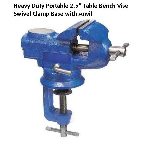 "heavy duty portable 2.5"" table bench vise swivel clamp base with"