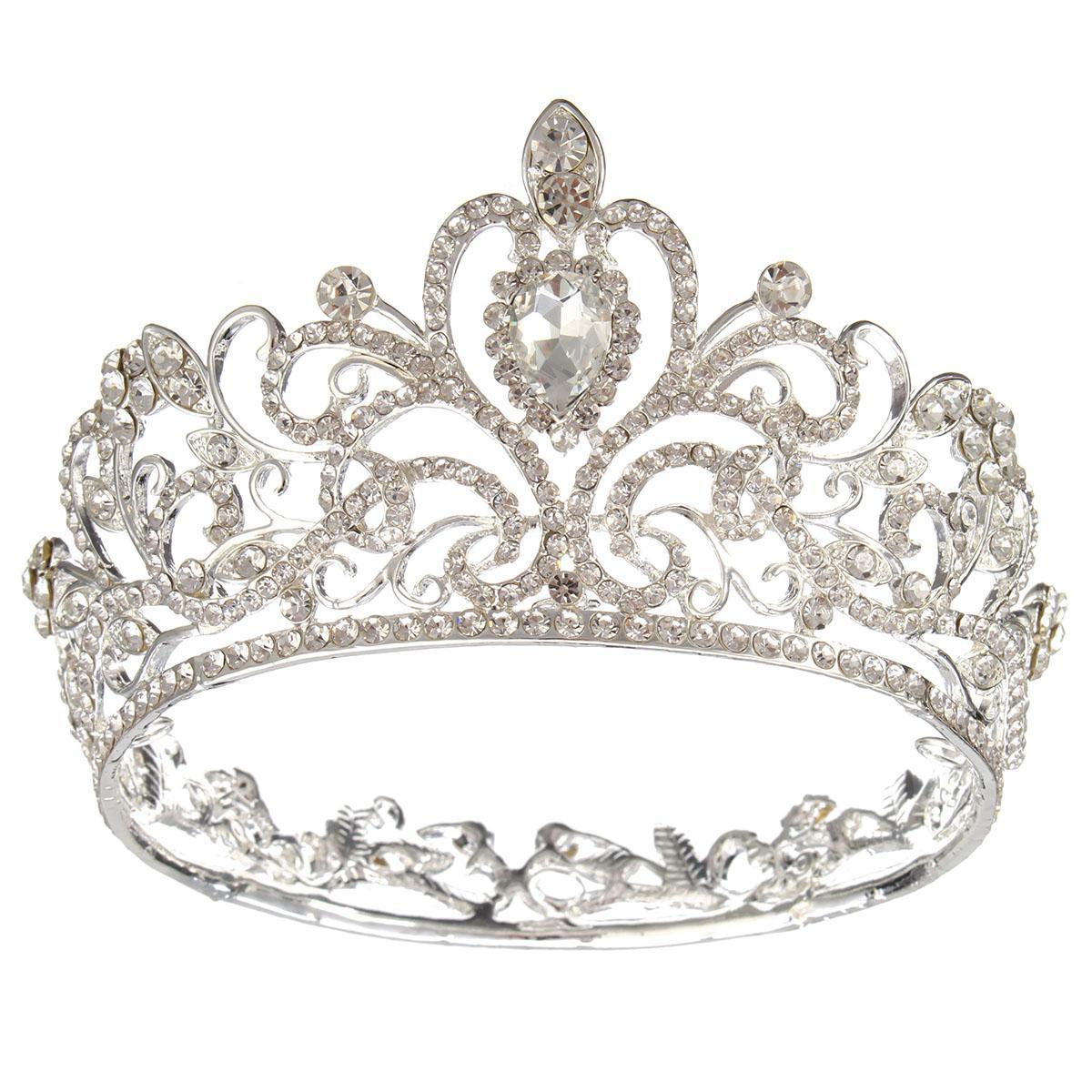 Crystal Rhinestone Queen Crown Tiara Wedding Pageant Bridal Diamante Headpiece Silver - intl