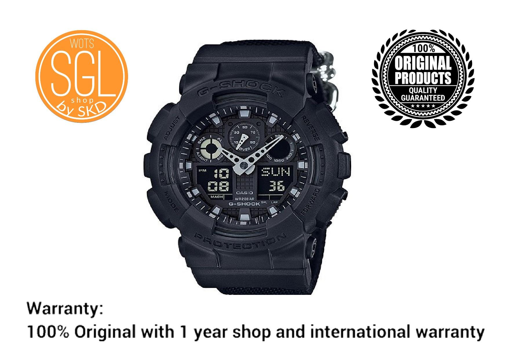 Casio G Shock New Release Large Face Analog Watch Ga710 Series Ga 110gw 7a Mens Double Black With Nylon Strap Ga100bbn 1