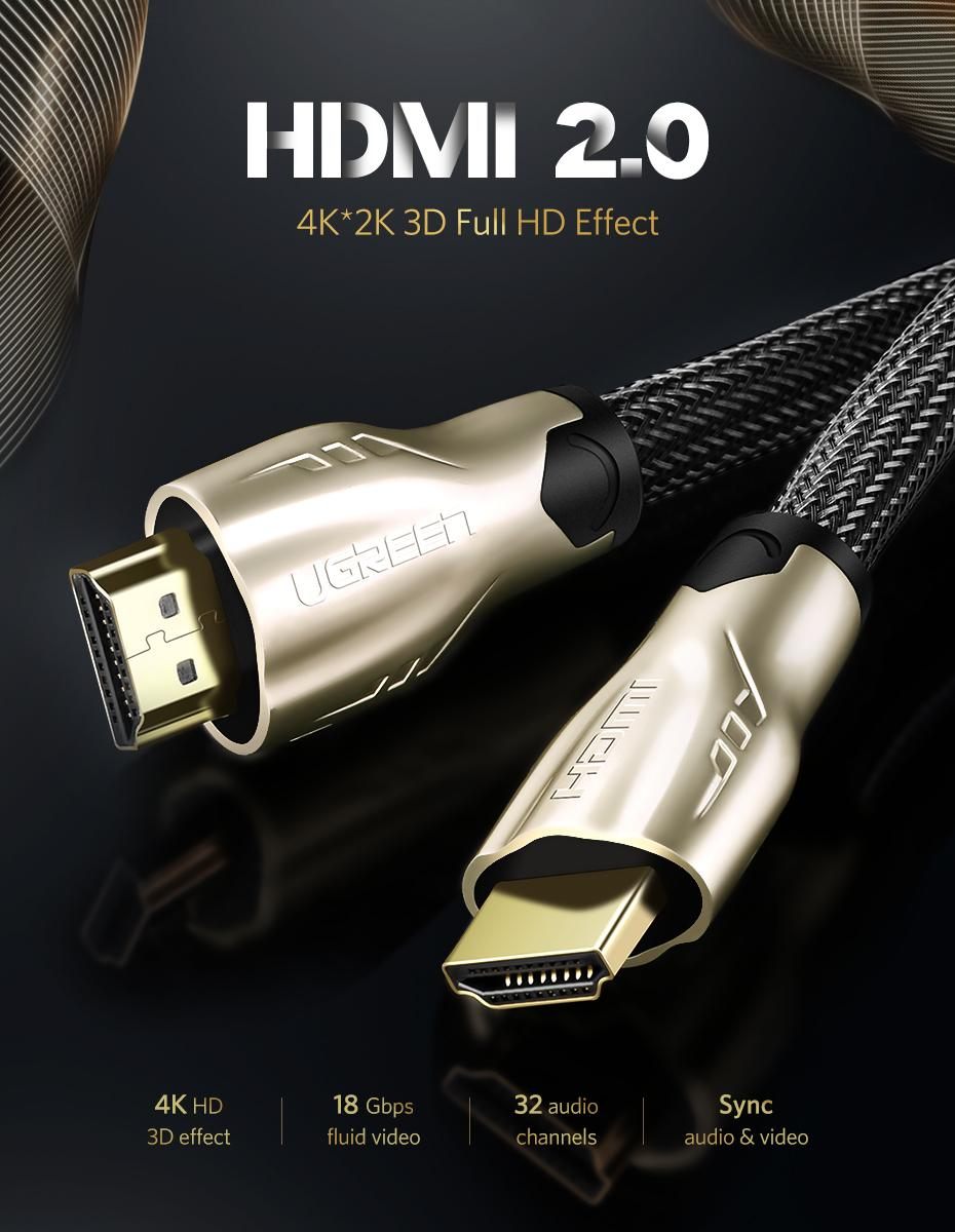UGREEN 1Meter Round HDMI Cable HDMI to HDMI 2 0 Cable for Xiaomi Mi TV Box  3 Laptop Nintend Switch PS4 PS3 DVB T Support 3D 4K x 2K-Intl