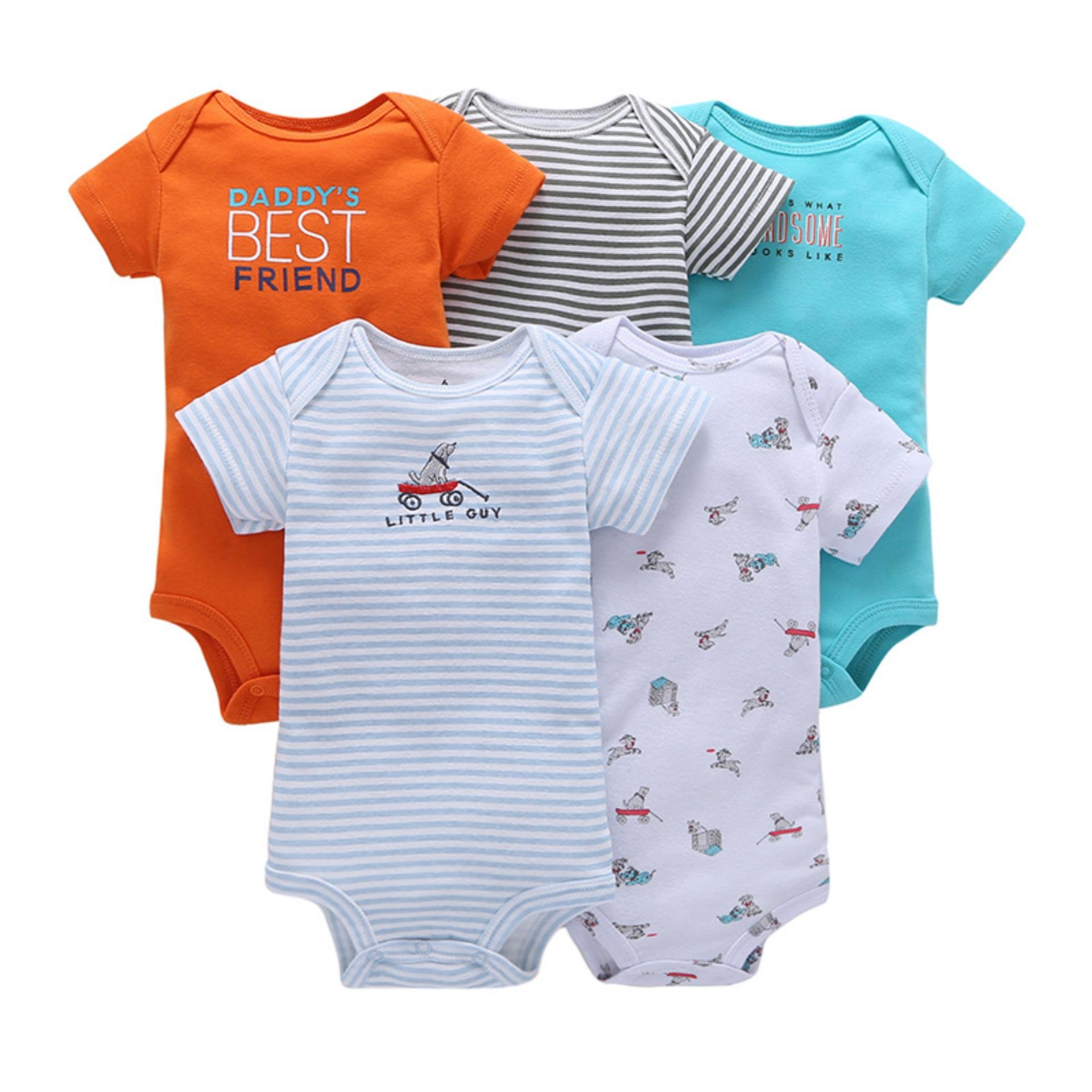 The cheapest price 5pcs Baby Jumpsuit Rompers Newborn Baby Clothing