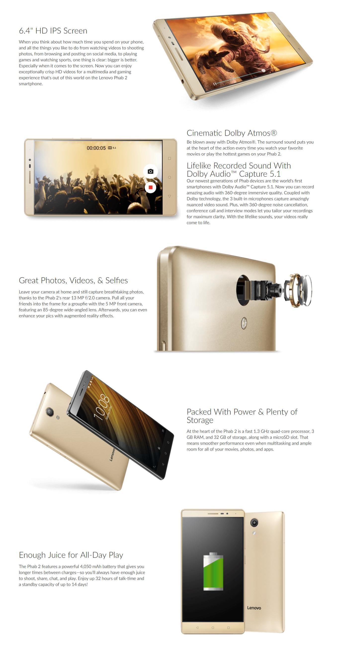 Lenovo Phab 2 Plus Smartphone 6 4