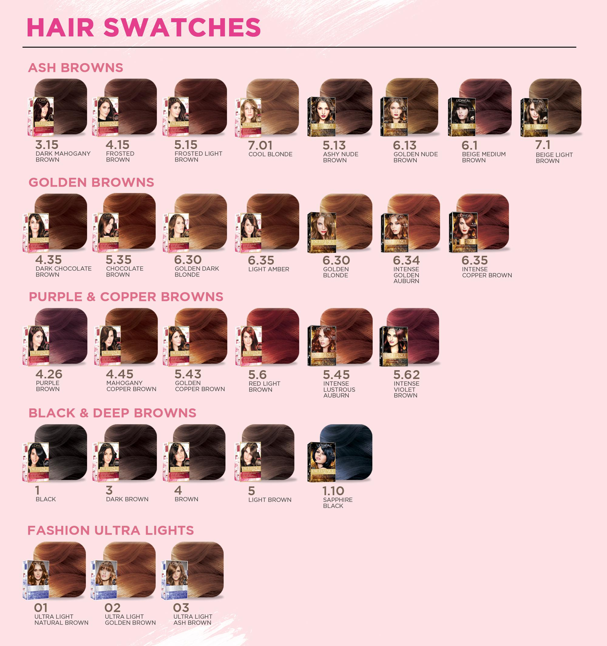 Loreal Hair Color Chart Excellence Creme