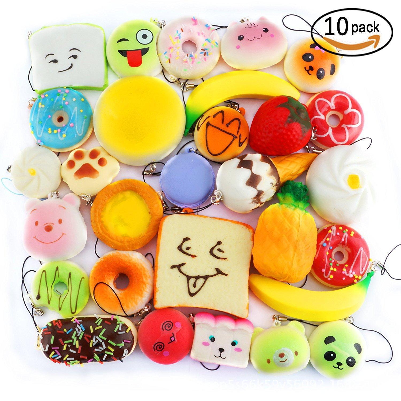10pcs Random Kawaii Mini Soft Squishy Foods Doughnut Lovely Cake Cute Bread Phone Straps with key