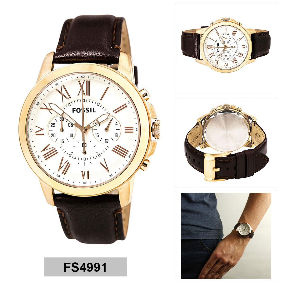 Philippines Bestsellers Fossil Grant Chronograph Black Dial Brown Ch 3014 Ch3014 Original Watch Stainless Steel Case Leather Strap Mens Fs4991