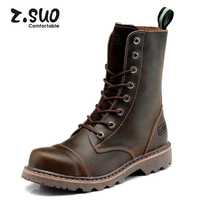 Z. suo British Leather man man's leather boots Martin boots ZS8818 Crazy Horse Brown