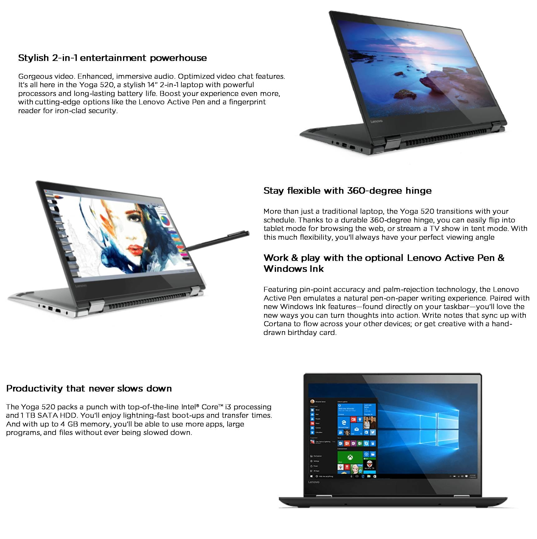 Specifications of Lenovo YOGA 520-14IKB 80X8014YPH 14