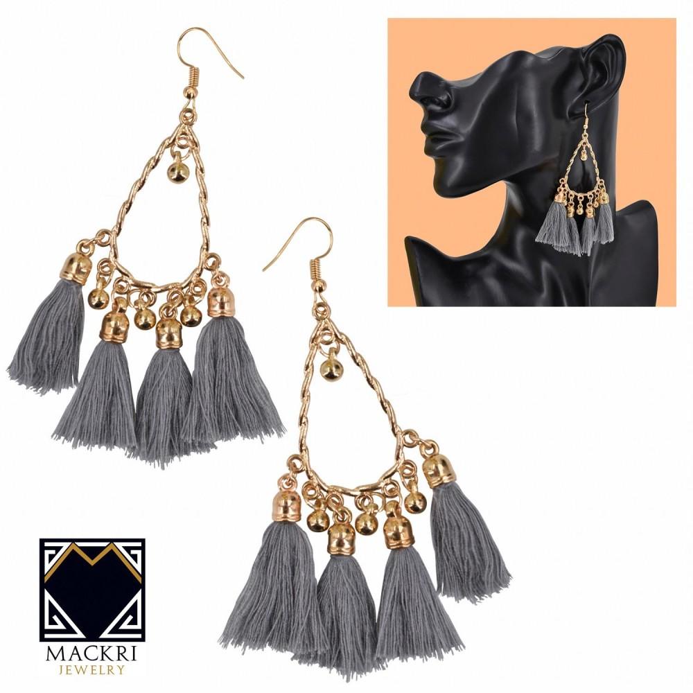 MACKRI Knot Design 4-Tassel Long Tassel Hook Drop Earrings