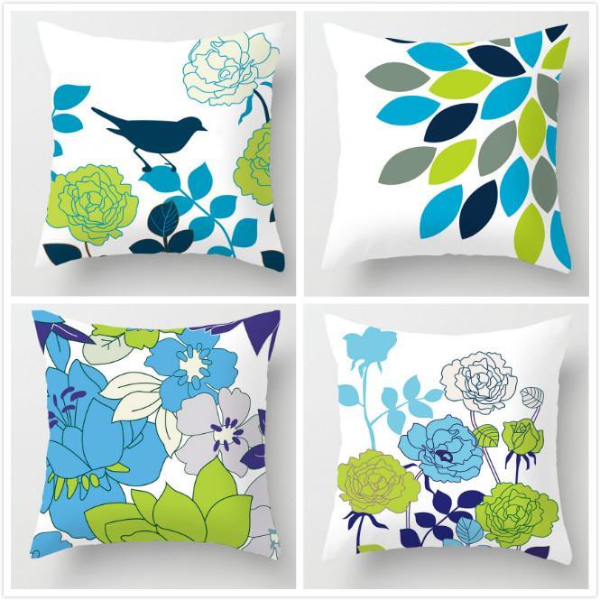GZ Set of 4 The Wizard of Oz Green Flower Throw Sofa Pillow Case Cushion Cover Soft Short Plush 45cm*45cm